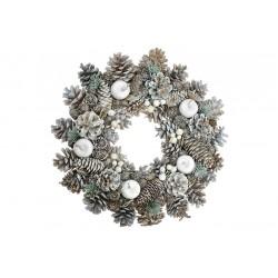 Vánoční věnec - 33 cm - bílý