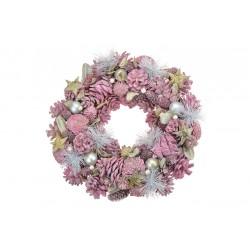 Vánoční věnec - 33 cm - růžový