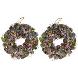 Vánoční věnec - 33 cm - fialový - set 2 ks