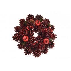 Vánoční věnec - 25 cm - červený