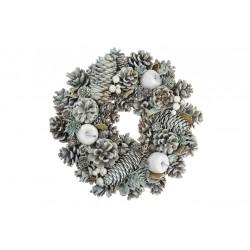 Vánoční věnec - 25 cm - bílý