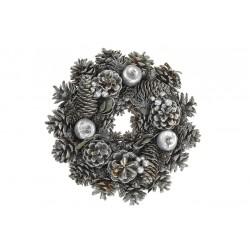 Vánoční věnec - 25 cm - stříbrný