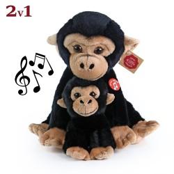 Plyšová opice s mládětem - se zvukem - 27 cm - Rappa