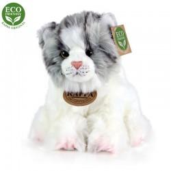 Plyšová šedo-bílá kočka - sedící - 17 cm - Rappa