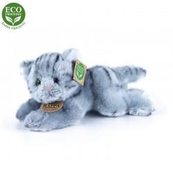 Plyšová kočka - šedá - ležící - 30 cm - Rappa