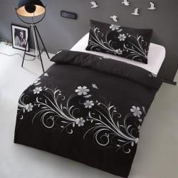 Microtop povlečení - květinové vlny - černé - 140 x 200 cm