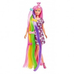 Panenka Steffi s duhovými vlasy - s šaty od Hello Kitty - Simba