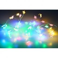 Barevné LED hvězdičky na baterie - 105 cm - 20 LED diod