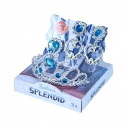 Princeznovská korunka s naušnicemi - modrá - Rappa