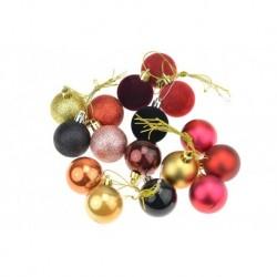 Sada vánočních kouliček - zlaté a fialové - 40 mm - 16 ks