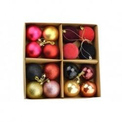 Sada vánočních kouliček - zlaté a fialové - 60 mm - 16 ks