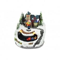 Vánoční dekorace - chlapec před domem a pohyblivý vláček - svítící - 13 cm