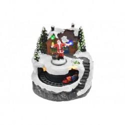 Vánoční dekorace - Santa před domem a pohyblivý vláček - svítící - 13 cm