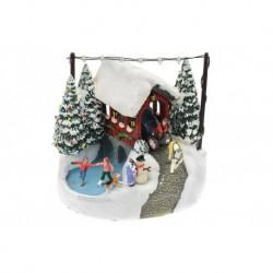 Vánoční dekorace - kočár a kluziště - svítící - 17 cm