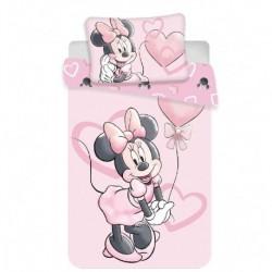 Bavlněné povlečení do postýlky - Minnie Pink Heart Baby - 100 x 135 - Jerry Fabrics