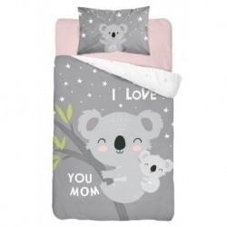Bavlněné povlečení do postýlky - Koala Love Grey - 100 x 135 - Detexpol