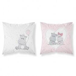Bavlněný povlak na polštářek - Hrošík - růžový - 40 x 40 - Detexpol
