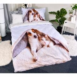 3D povlečení - Pes a kočka - 140 x 200 - polyester