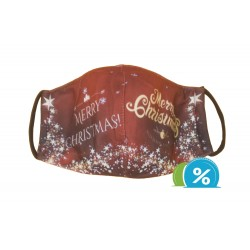 Textilní rouška s vánočním motivem - červená
