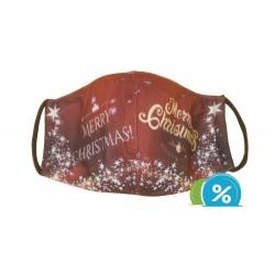 Dětská textilní rouška s vánočním motivem - červená