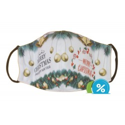 Dětská textilní rouška s vánočním motivem - zeleno-bílá