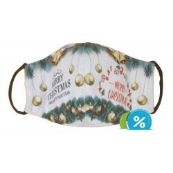 Textilní rouška s vánočním motivem - zeleno-bílá