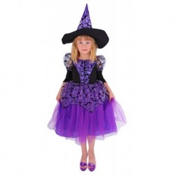 karnevalový kostým čarodějnice/halloween fialová s rukávy, vel. S