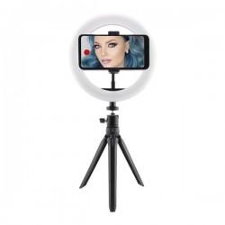 Přenosný stativ s LED kruhovou svítilnou pro streamery a vlogery - černý