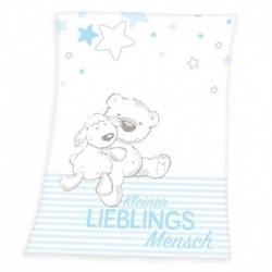 Dětská fleecová deka - Ovečka a medvídek - modrá - 100 x 75 cm - Herding