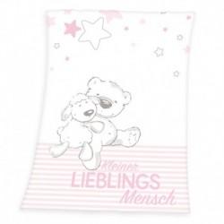 Dětská fleecová deka - Ovečka a medvídek - růžová - 100 x 75 cm - Herding