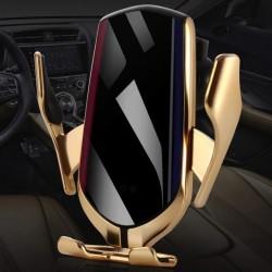 Bezdrátová nabíječka a držák do auta Lux R1 2 v 1 - zlatý