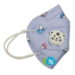 Dětská filtrační maska s dýchacím ventilem třídy KN - 1 ks - fialová - OEM