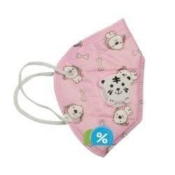 Dětská filtrační maska s dýchacím ventilem třídy KN - 1 ks - růžová - OEM