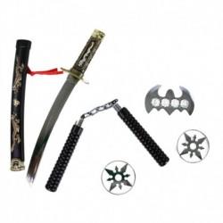 Japonský meč katana s příslušenstvím - 5 kusů - Rappa