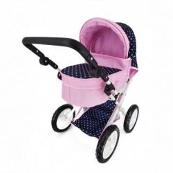 Velký kočárek pro panenky - modro-růžový s puntíky - Rappa