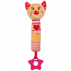 Dětská pískací plyšová hračka s kousátkem - kočka - Baby Mix