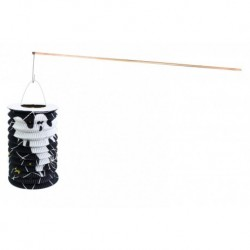 Halloweenský lampion s dřevenou hůlkou - motiv ducha - 15 cm - Rappa