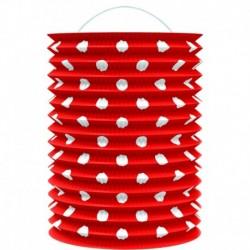 Papírový lampion - červený s tečkami - 23 cm - Rappa