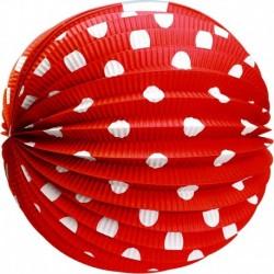 Papírový kulatý lampion - červený s tečkami - 25 cm - Rappa