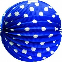 Papírový kulatý lampion - modrý s tečkami - 25 cm - Rappa