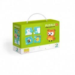 Puzzle Duo - Kde bydlí zvířátka - 12 x 2 dílků - Rappa