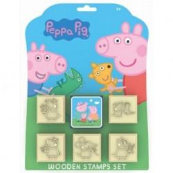Sada dřevěných razítek 5+1 - Prasátko Peppa - Jiri Models
