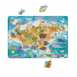 Rámové puzzle - Zvířata Eurasie - 53 dílků - TM Toys