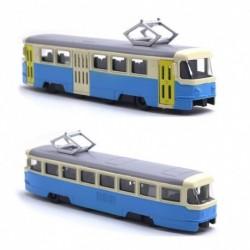 Kovová tramvaj Tatra T3 - 18,5 cm - modro-krémová se zvukem a světlem