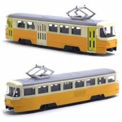 Kovová tramvaj Tatra T3 - 18,5 cm - žluto-krémová se zvukem a světlem
