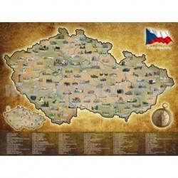 Stírací mapa České republiky - stříbrná - 80 x 65 cm