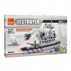 Dětská stavebnice 0356 - 480 dílků - DESTROYER 1:400 - Bitevní loď - Peizhi