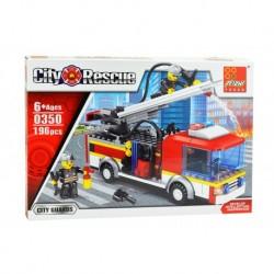 Dětská stavebnice 0350 - 196 dílků - City Rescue - Hasiči - Peizhi