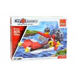 Dětská stavebnice 0479 - 104 dílků - City Rescue - Hasičský člun - Peizhi