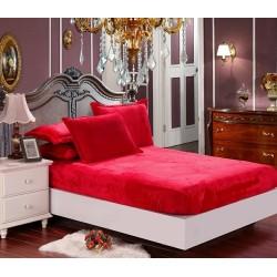 Mikroflanelové prostěradlo Elegance - červené - BedStyle